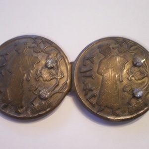 Antique Japanese Brass Belt Buckle w/Geisha